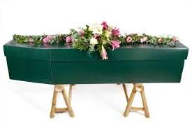 Green Coffin for Colour Theme Funeral